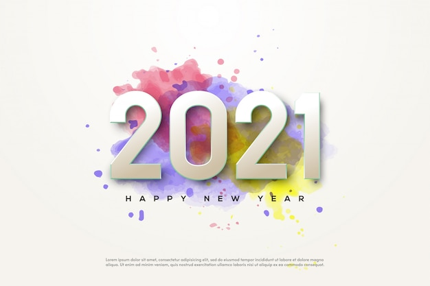 2021 happy new year with white numbers on watercolor style