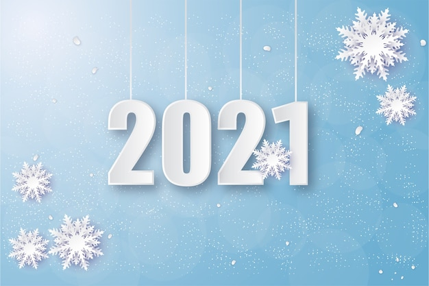 2021 happy new year with white numbers with winter nuances.