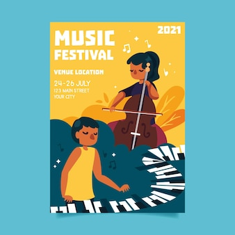 2021 illustrated music fest poster with people playing instruments