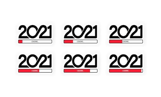 2021 loading icon set. set progress bar showing loading of 2021. vector on isolated white background. eps 10.