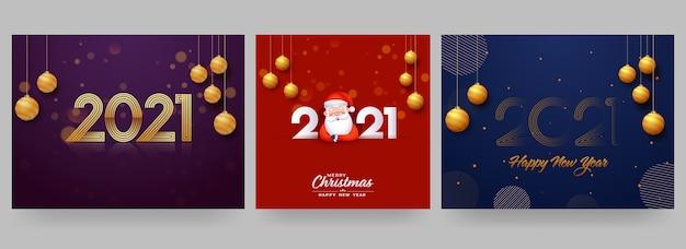 Дизайн плаката с новым годом и рождеством 2021 года