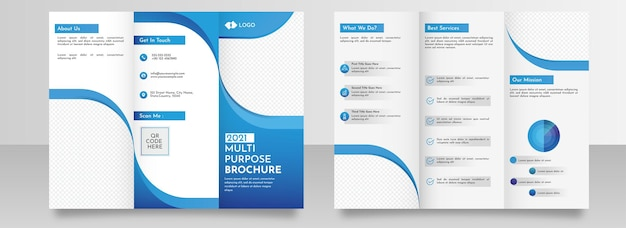 2021 multipurpose trifold brochure template layout with double-side in blue and white color.