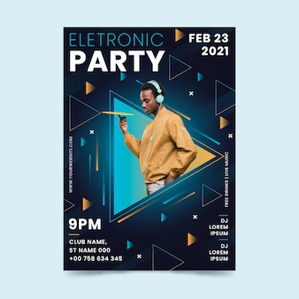 2021 music event flyer template in memphis style
