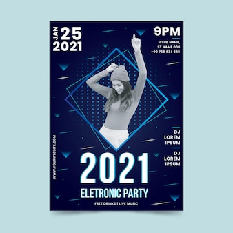 2021 music event poster in memphis style with photo