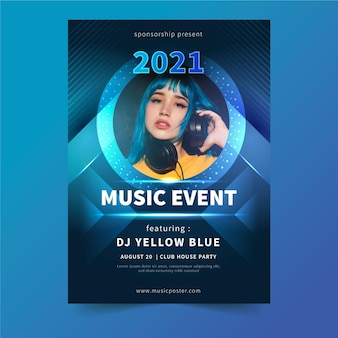 2021 music event poster with photo