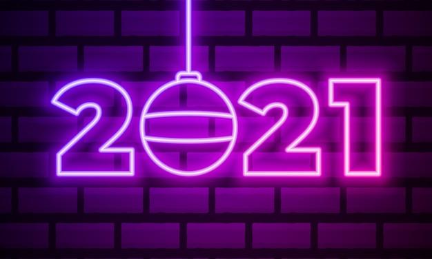 2021 неоновый текст. 2021 новый год дизайн шаблона. световое знамя.