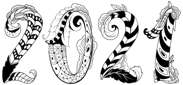 2021 new year abstract number tribal tattoo isolated on white floral ornament.