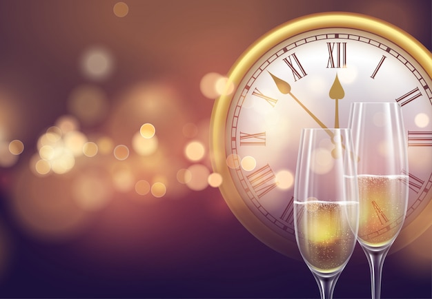 2021 новогодний фон с часами и бокалами шампанского и светящимся боке
