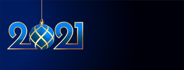 2021 new year banner with christmas ball design