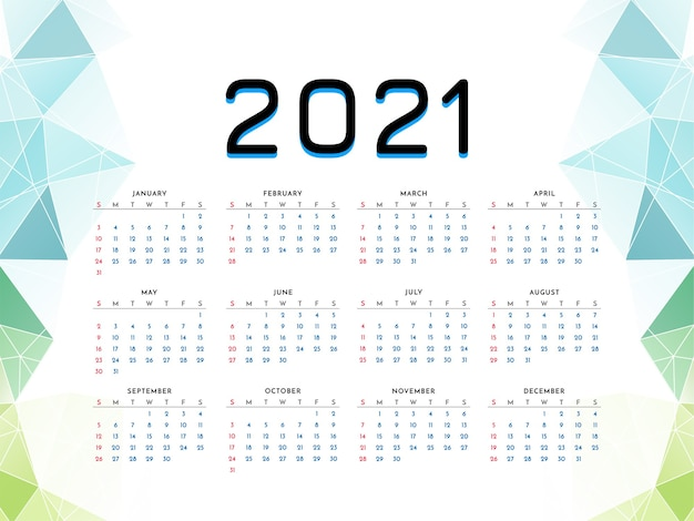 2021 new year calendar design geometric style template