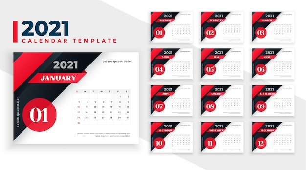 2021 new year calendar design in red and black colors