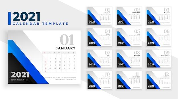 Modello di progettazione del calendario del nuovo anno 2021 in forme geometriche blu