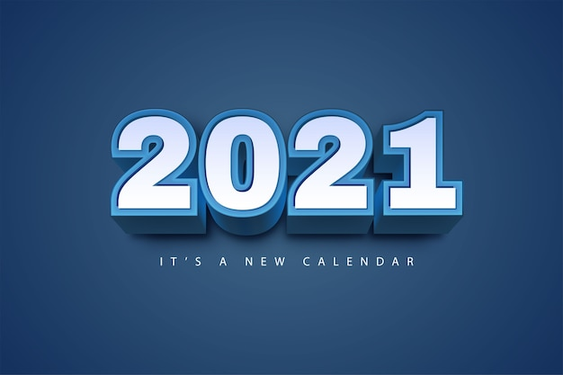 2021 new year calendar, holiday illustration of blue colorful background template