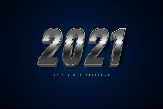 2021 새해 달력, 실버 화려한 배경 템플릿의 휴일 그림