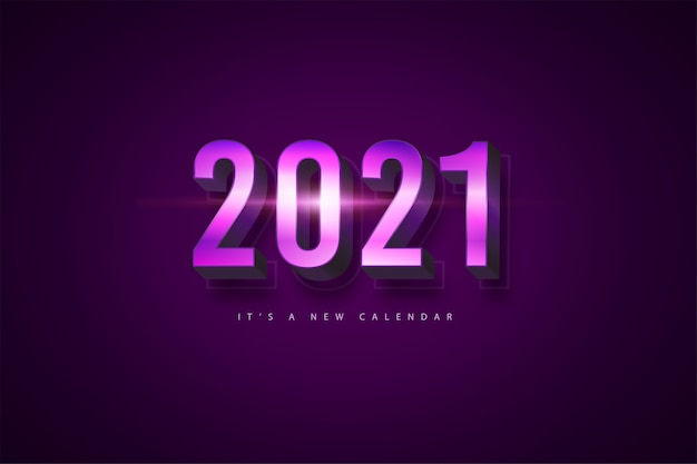 2021 new year calendar, holiday illustration of purple colorful background template
