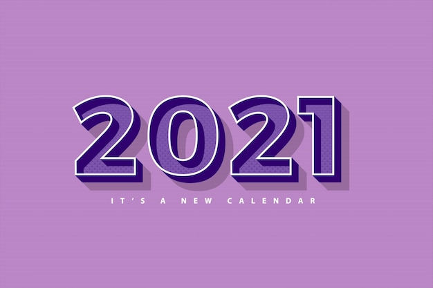 2021 new year calendar, holiday illustration of retro purple colorful background template