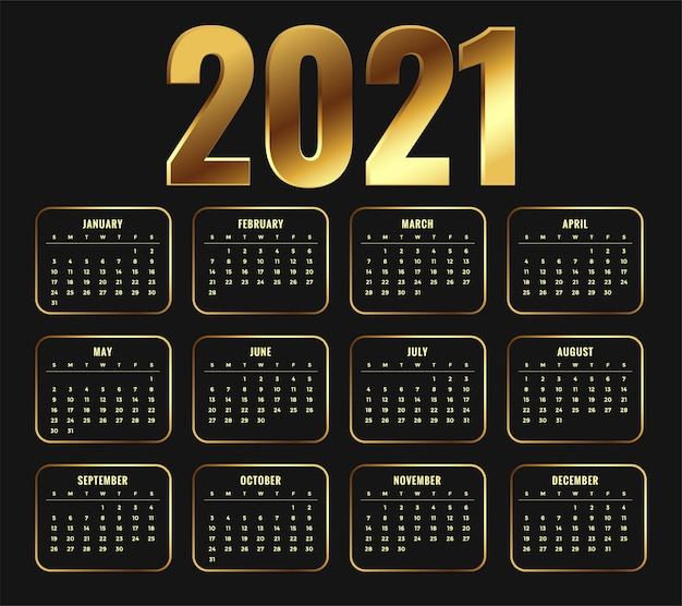 黄金の光沢のあるスタイルのデザインで2021年カレンダー