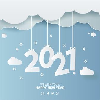 Papercut 하늘 배경으로 2021 새 해 카드