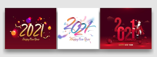 Дизайн плаката празднования нового года 2021 года с дедом морозом в трех вариантах