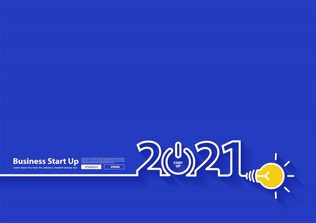 2021 new year design with creative light bulb idea, inspiration business start up plan, vector illustration