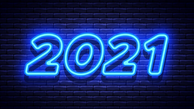 2021 new year glowing blue neon signboard on brick wall.  illustration.