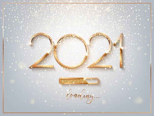 2021 new year golden sign with loading bar