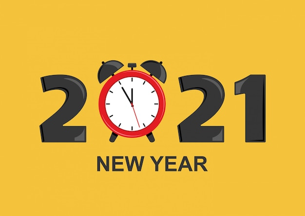 2021 new year greeting card with alarm clock. vector