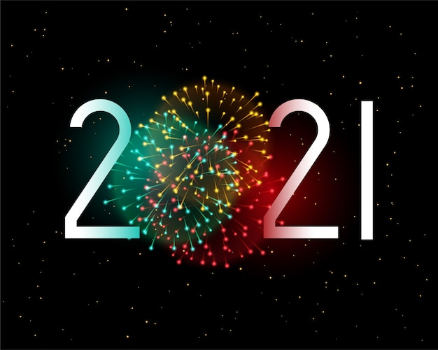 2021 new year greeting card with fireworks celebration