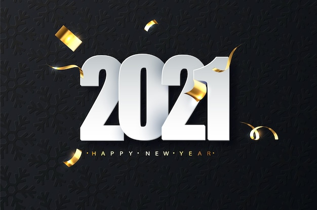 2021 new year luxury illustration on dark background. happy new year greetings