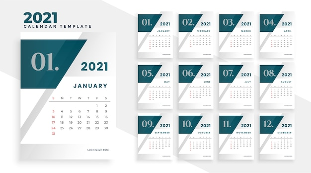 2021 new year modern calendar design template