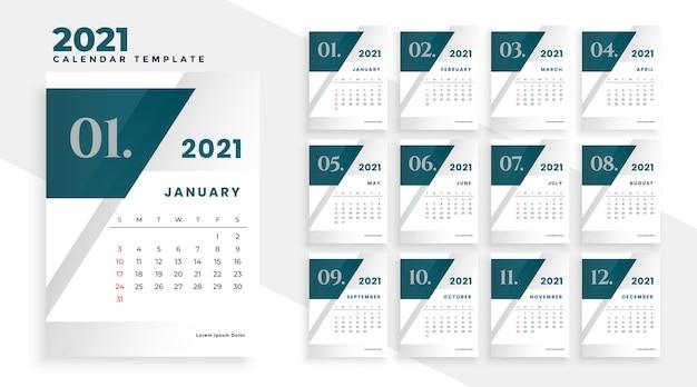 Modello di progettazione del calendario moderno del nuovo anno 2021
