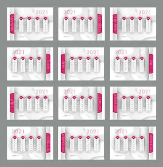 2021年の新年の印刷可能なカレンダー
