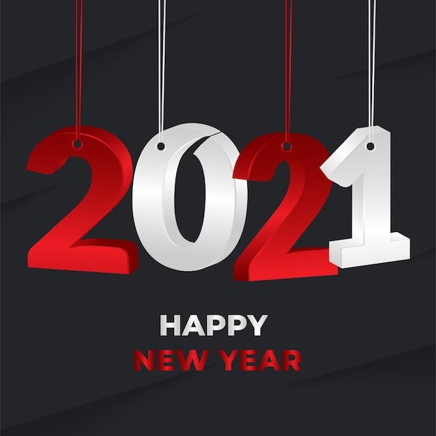 2021 새해 빨간색과 흰색