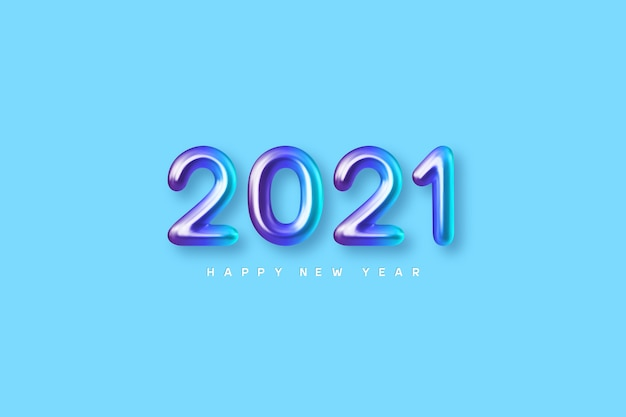 2021 new year sign. 3d metallic colorful numbers on blue background. glossy realistic 2021.