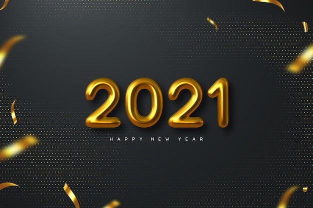 2021 new year sign. 3d metallic golden numbers on black background. gold realistic 2021.