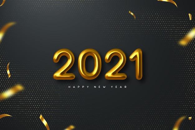 Новогодний знак 2021 года. 3d металлические золотые числа на черном фоне. золото реалистично 2021 года.