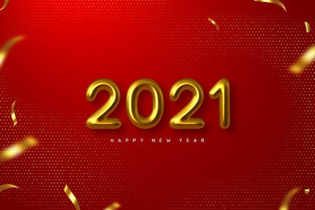 Новогодний знак 2021 года. 3d металлические золотые числа на красном фоне. золото реалистично 2021 года.