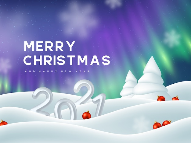 2021年の新年のサイン。 3dメタリックナンバー、オーロラ、雪の吹きだまり、モミの木、装飾的な赤いボール。冬の雪の背景。オーロラの風景。