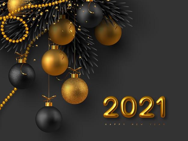 2021 새해 기호. 현실적인 3d 황금 금속 숫자, 반짝이 공, 전나무 나뭇 가지와 반짝이와 황금 구슬. 크리스마스 배경입니다.