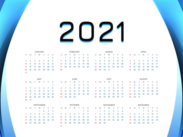 2021 new year wave style calendar design background