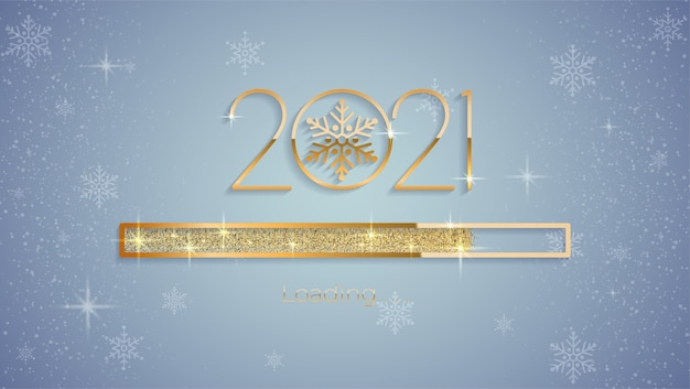 2021 new year with bright shiny loading progress bar, golden glitter and sparkles premium vector
