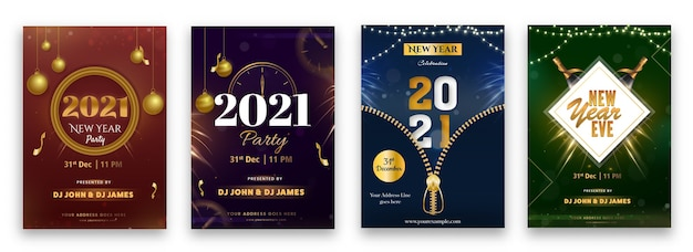 2021 nye party flyer illustration