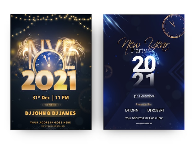 2021 nye party flyer or template design in blue and black color options