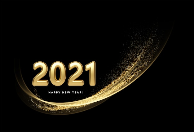 2021 realistic golden 3d inscription on the background of gold glitter confetti wave.