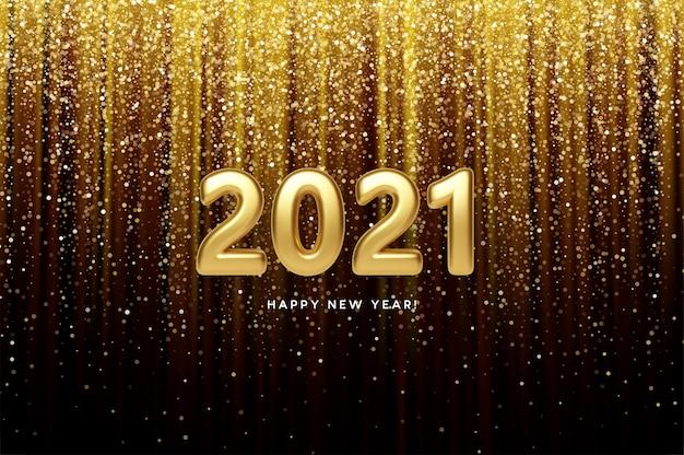 2021 realistic golden 3d inscription on the background of gold glitter confetti.