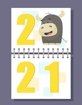 雄牛と2021年のスパイラルカレンダーポストカード。フラットな漫画のスタイルで。