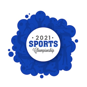 2021 sports championship concept with different athletics on red and white background.
