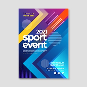 2021 sports event poster with geometrical shapes