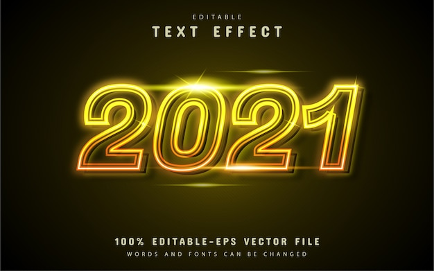 2021 text effect yellow neon