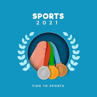 2021 time to sports poster design with hand holding three color medals and laurel wreath on blue background.